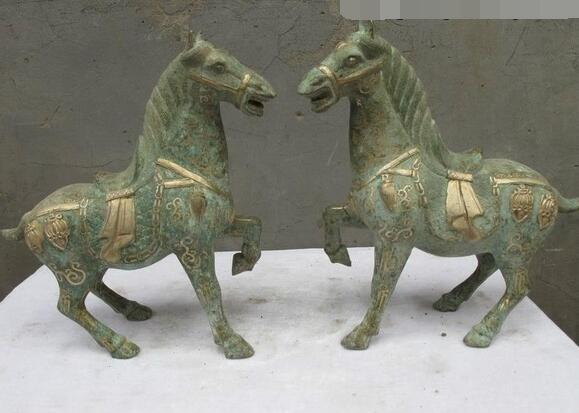 11Chinese Folk Collect Bronze Silver-Gilt Soldier War Horse statue pair11Chinese Folk Collect Bronze Silver-Gilt Soldier War Horse statue pair