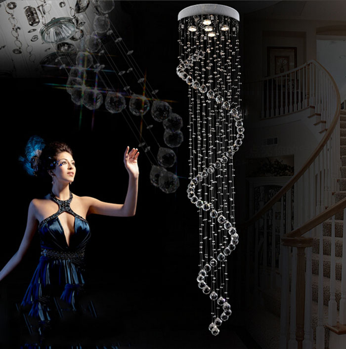 Staircase chandelier simple personality crystal lamp villa hall crystal chandelier creative spiral living room big chandelier loft industrial retro chandelier personality simple creative living room cafe bar spiral staircase chandelier lighting