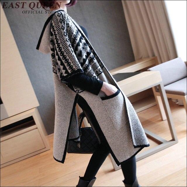 Outono inverno moda meia manga mulheres soltas malha cardigan Moda casual mulheres long hoodie AA1619z