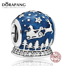 NEW 100% 925 Sterling Silver Christmas Night Charm Midnight Blue Enamel Bead Fits Original Bracelets DIY Jewelry