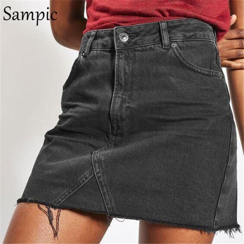 Sampic Sexy Leopard Denim Women Skirt High Waist Jeans Short Skirts Black Gray Vogue Summer Autumn Womens Skirt XS