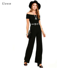 4a84c720878 Slash Neck Off the Shoulder Jumpsuit Women Long Pants Romper Black Red Wide  Leg Summer Office Work Formal Jumpsuits Overalls XXL