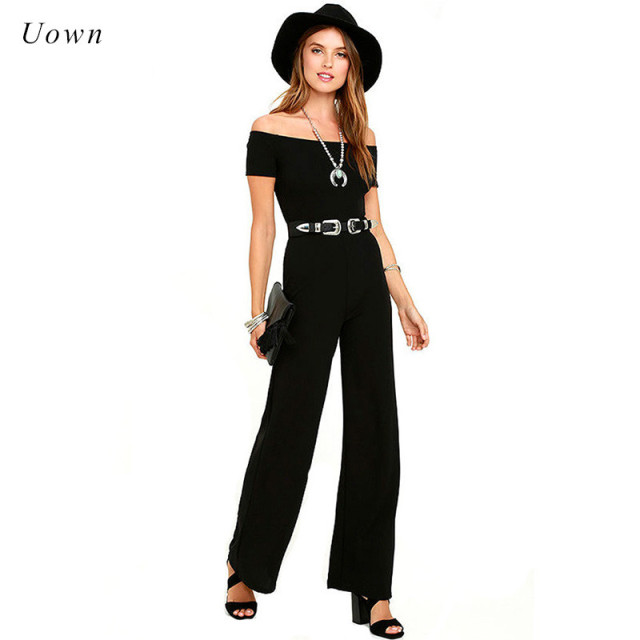 1b5797a59f2a Slash Neck Off the Shoulder Jumpsuit Women Long Pants Romper Black Red Wide  Leg Summer Office Work Formal Jumpsuits Overalls XXL