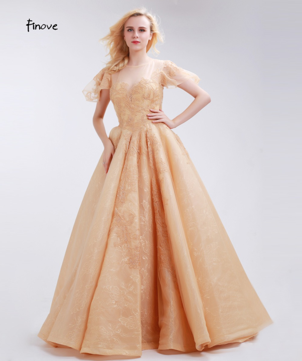 063154f0ae2d Finove Elegant Champagne Prom Dresses Vintage Floral Lace Ball Gowns ...