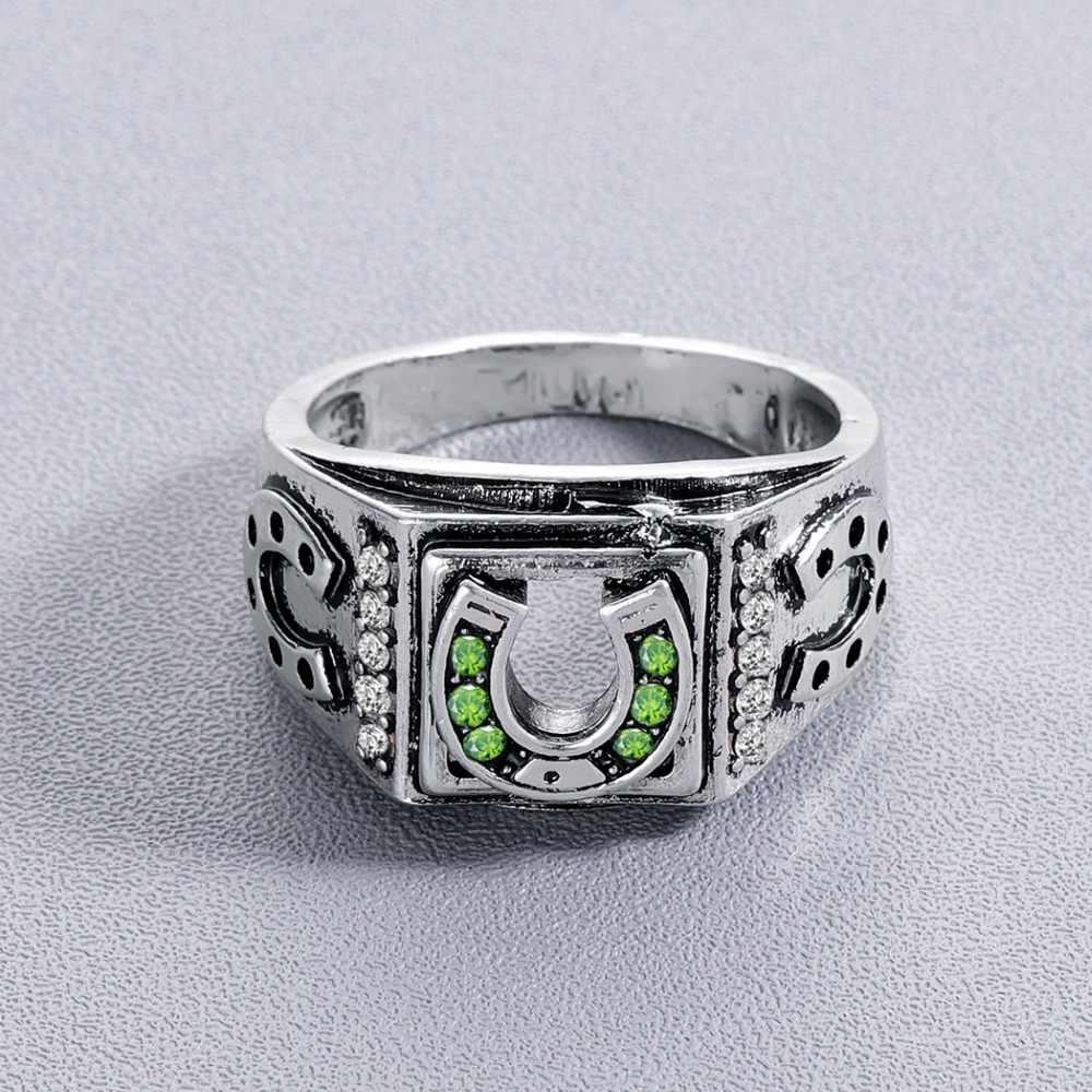 Chandler สีเขียวหิน Lucky ผู้ชาย Horseshoe แหวน Retro คลาสสิกเงินขนาด 9 โชคดีแหวน Anillos รองเท้าม้า Anel แหวนสีดำ