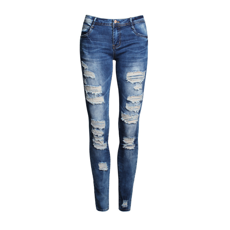 2016 Womens Distressed Ripped Knee Skinny Jeans Fashion Hot raw edges hole denim pants for feminino