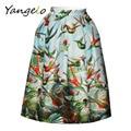 Summer Womens Birds 3D Printed Fashion High Waist Pleated Skirt