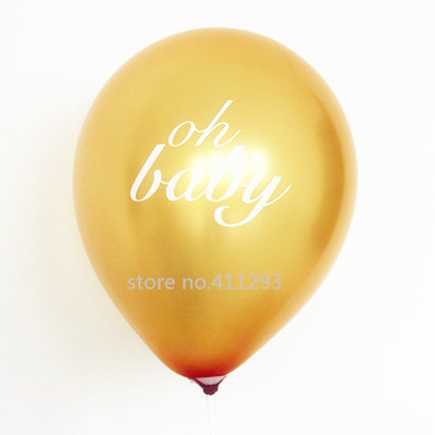 12pcs/lot Baby shower balloon its a girl  it's a boy oh baby printed light pink pink balloons baby shower party decorations