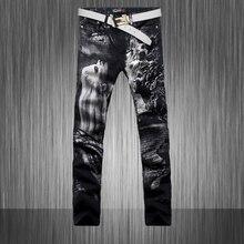 2014 новая коллекция весна и Осень мужской одежды мужчины горячие продаж окрашены тонкий стрейч брюки мужчины джинсы брюки Pattern Окрашенные Джинсы wz40