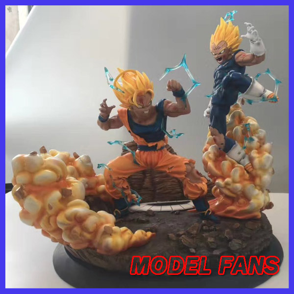 MODEL FANS Dragon Ball copy version VKH 40cm evil Vegeta VS Super saiyan Goku gk resin statue VER.2 figure toy for Collection model fans dragon ball vkh 32cm goku vs piccolo gk resin statue figure toy for collection