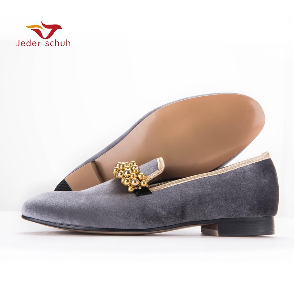 New Style Velvet Beading Decoration Men Velvet Shoes Men Loafers Somking Slipper Size US 6-14 Free Shipping