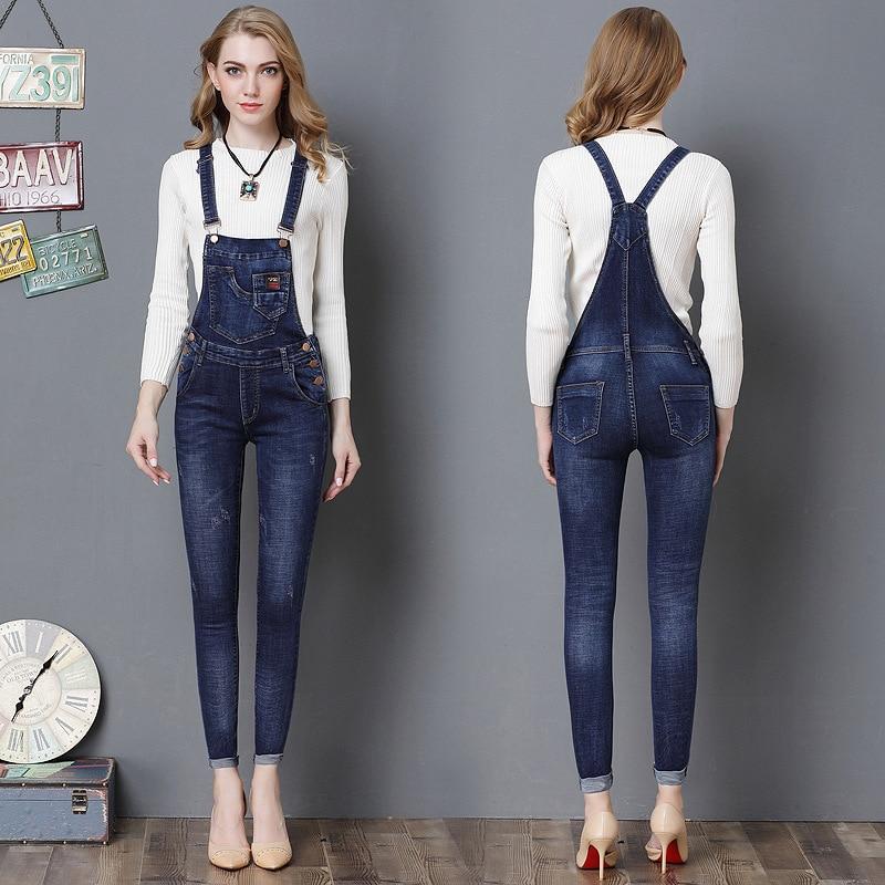 2018 Nieuwe Vrouwen Denim Overalls Ripped Stretch Lange Jeans Potlood Broek Aanpassen Strap Rompertjes Jumpsuit Blauw Wassen Jeans Jumpsuits
