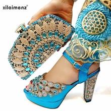Eşleşen çanta ile İtalyan ayakkabı seti afrika kadın parti ayakkabıları ve çanta setleri gök mavisi renk kadınlar yüksek sandalet ve çanta