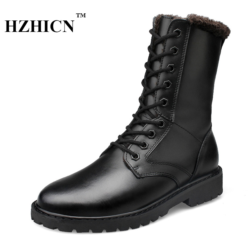 Men Genuine Leather Shoes Big Size 37-50 Winter Snow Boots Plush fur Soft and Comfortable Martin Boots Keep Warm Fashion Shoes warmest genuine leather snow boots size 37 50 brand russian style men winter shoes 8815