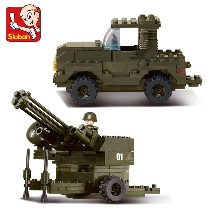 Sluban 7300 строительные блоки Аутентичные серии ВВС зенитные пистолеты собраны детские развивающие игрушки