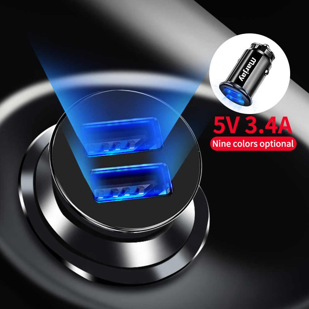 Marjay 3.4A LED Dual USB cargador de coche adaptador cargador de coche para iPhone 7X6 s Samsung S9 Xiaomi cargadores de coche para teléfono móvil mi9 Tablet