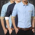 2016 Venta Caliente Hombres de La Moda Camisas Polka Dot Casual Para Hombre camisa de Vestir de Manga Larga Slim Fit Marca de Diseño de Alta Calidad vestido