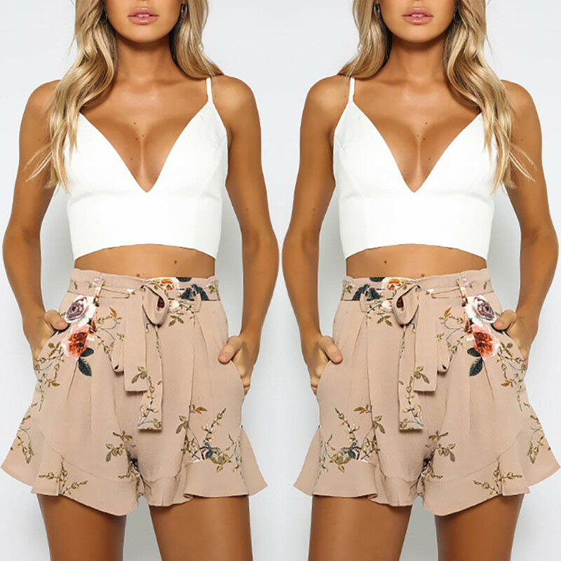 2019 New Hot  Women Vintage Floral Shorts Summer Casual Bow Lady Beach High Waist Short Trousers