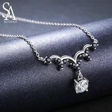 SA SILVERAGE Настоящее серебро 925 проба белый циркон/черная шпинельная Подвеска Ожерелье s для женщин 925 серебро красивое ожерелье Chian
