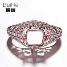 BAIHE Solid 14K Rose Gold Certified Cushion Shape Engagement Women Office/career Fine Jewelry Elegant unique Semi Mount Ring