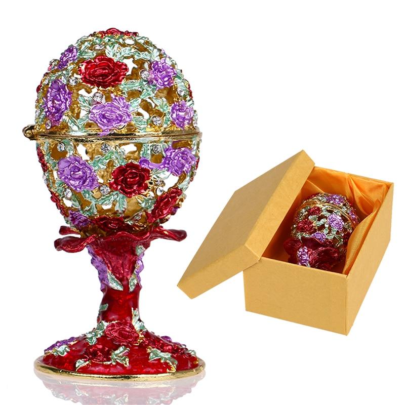 Шкатулка для ювелирных изделий H & D 4,3 дюйма, ручная работа, русская коробка для яиц, откидной держатель для кольца, коллекционные украшения, статуэтка для хранения, подарок на Пасхуbox forbox boxbox for wedding gift -