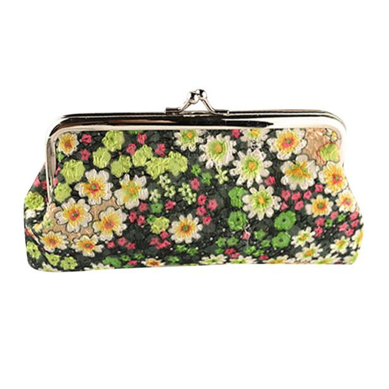 купить Retro Vintage Flower Print Women Lady Small Wallet Hasp Coin Purse Clutch Girls Clutch Bag 1PC Gift Hot Sale DropShipping недорого
