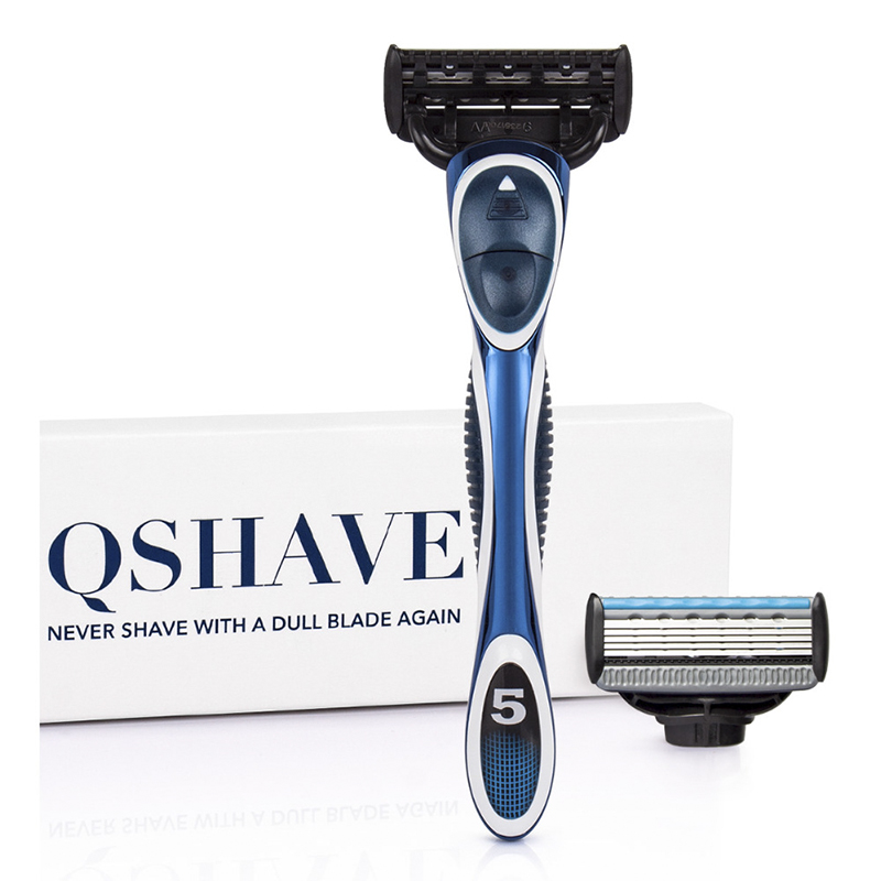 QSHAVE Blue Series 5-Layer USA Blade Manual Razor Men Shaving Razor With 2 Pieces X5 Blade QSHAVE Name Engraved Service Provided