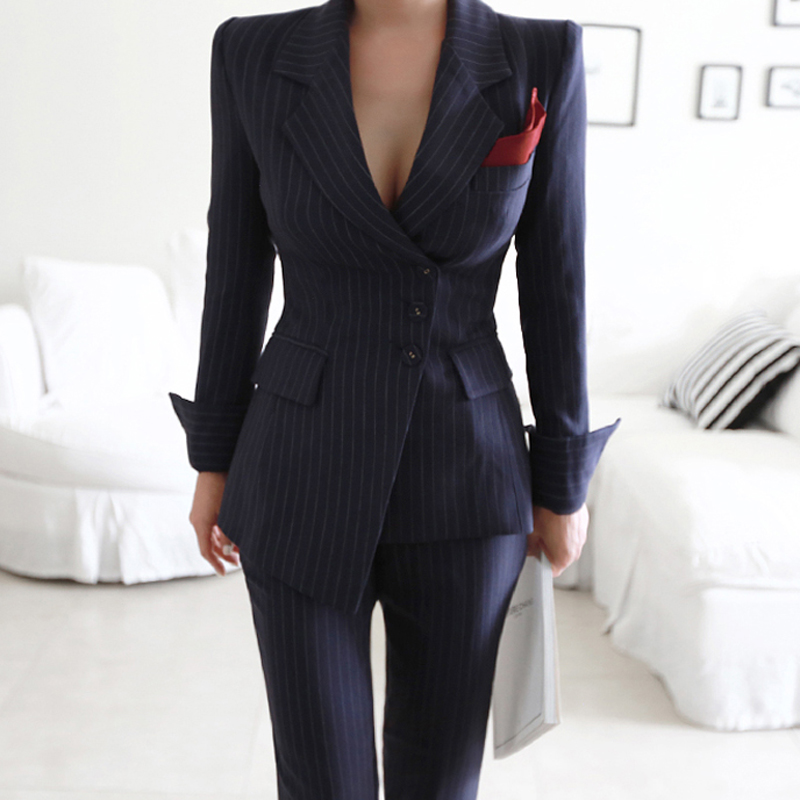 Women Irregular Striped Pant Suits Single Breasted Blazer Jacket and Slim Pencil Pant 2 Pieces Set