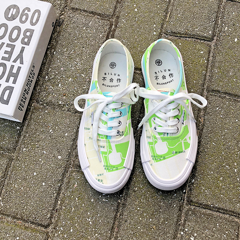 Rue 2019 Sauvage Coréenne Version Carte FemmesVert Toile Étudiants Tir Décontractées Chaussures De La Nouveaux trCxhsQd