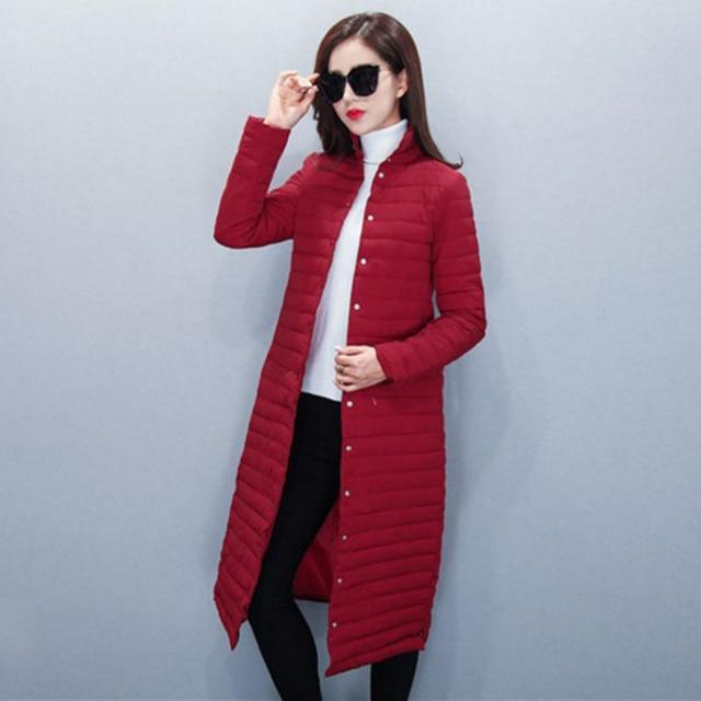 1PC Thin Cotton Long Coat Women Winter Jacket Women Casacos De Inverno Feminino Chaquetas Mujer Jaqueta Feminina Z010