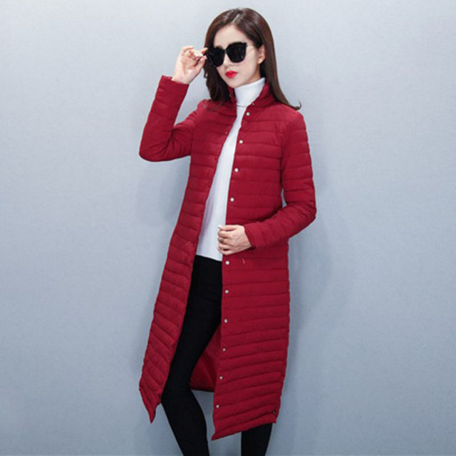 1PC Thin Cotton Long Coat Women Winter Jacket Women Casacos De Inverno Feminino Chaquetas Mujer Jaqueta Feminina Z010
