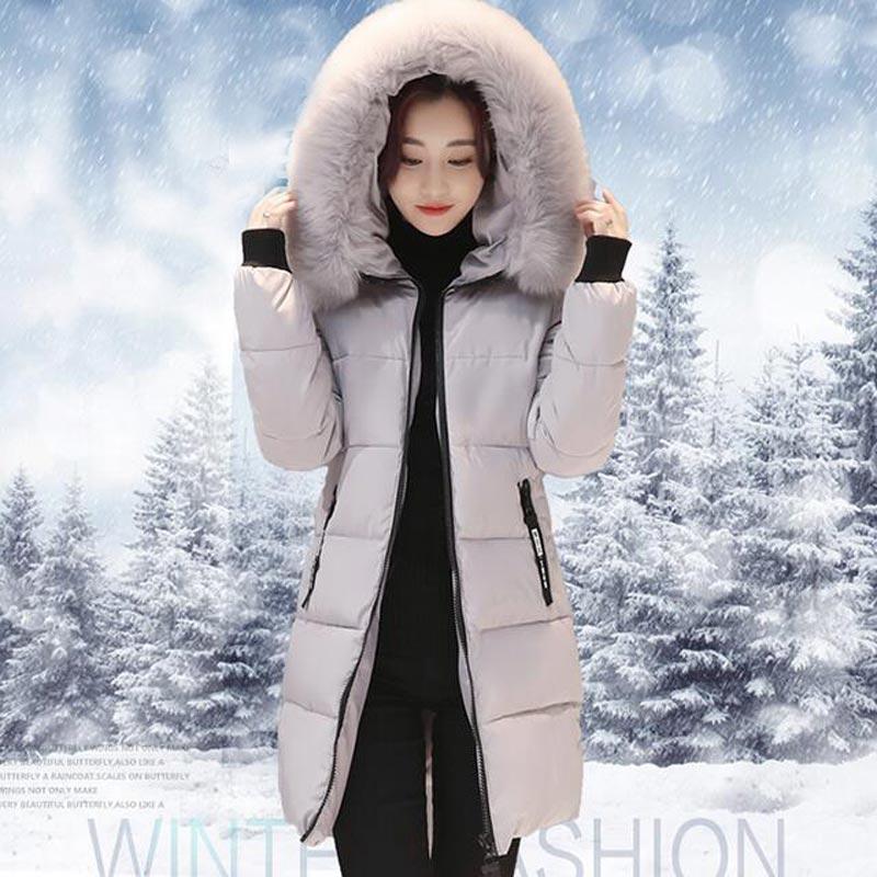 Nueva Chaqueta de Invierno Mujeres de la Capa de Cuello de Piel de Moda Caliente Mujer Parka Con Capucha Prendas de abrigo de Algodón Mujeres Parkas PW0868