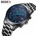Top Brand Luxury BIDEN Men's Quartz-Watch Stainless Steel Band Black Clock Chronograph mens Watches relogio masculino esportiv