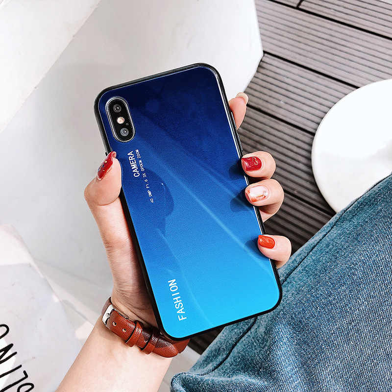 LuxuryTempered Glass Case For iPhone 7 8 X 6 6S Plus Gradient Color Blue Ray Aurora Skin Back Cover For iPhone XS Max XR Case