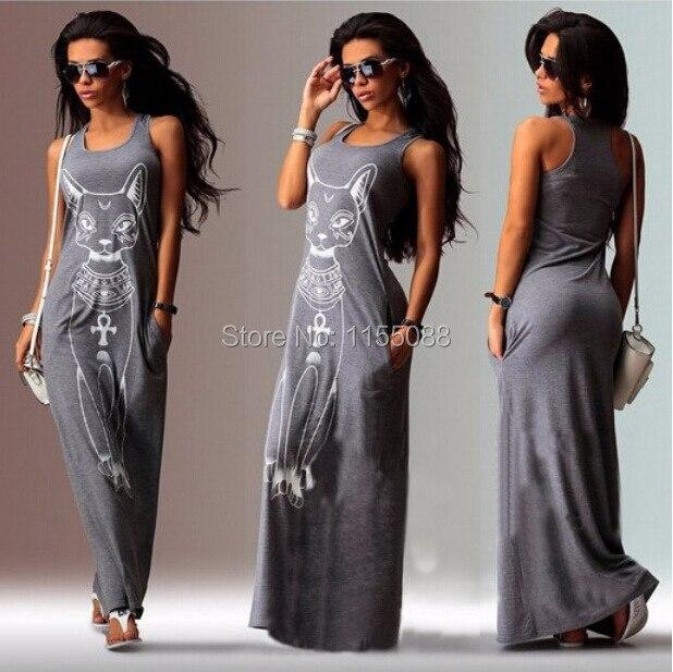 100pcs/lot  Cute Women Summer Sexy Cat Print Casual Boho Long Maxi Evening Party Beach Dress Vest Sundress