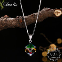 INALIS Authentic 925 Sterling Silver Cube Pendant Necklace Discolor Crystal For Women Fashion Jewelry Gift Elegant