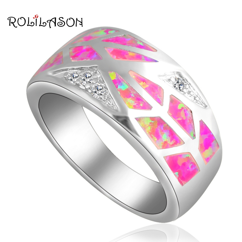 New Arrival Purple fire Opal  silver plated  Stamped Rings Zircon Wholesale & Retail Jewelry USA sz #8 #9.5 #8.5 OR655