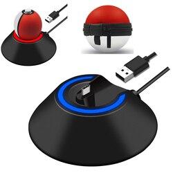 Fonte de alimentação led tipo-c carregador estação doca de carregamento suporte para nintend switch ns poke ball mais controlador pokeball eevee jogo