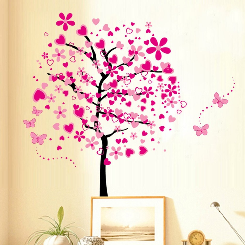 Big Size Floral Flower Tree Wall Stickers for Kids Room Beautiful Flower Wall Decals for Bedroom Art Wallpaper Home Decor Poster
