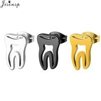 Jisensp Trendy Earings 2018 Stainless Steel Gold Hollow Teeth Earrings Minimalism Love Dental Ear Studs Men Woman Jewelry Gifts
