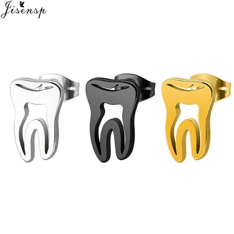 Jisensp Trendy Earings 2018 Stainless Steel Gold Hollow Teeth Earrings Minimalism Love Dental Ear Studs Men Woman Jewelry Gifts