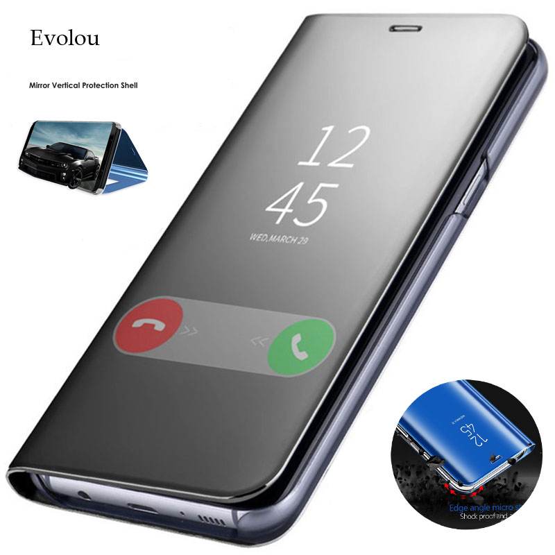 View Mirror Smart Flip Case for <font><b>Samsung</b></font> Galaxy A50 A60 A70 A80 Clear Stand Leather Case for <font><b>Samsung</b></font> A40 <font><b>A30</b></font> A20 A10 A01 Cover image