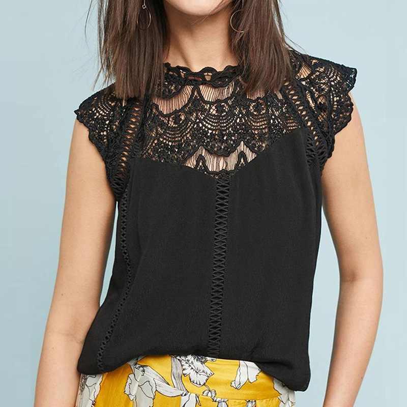 Musim Panas 2020 Wanita Atasan Blus Renda Tanpa Lengan Patchwork Solid Kemeja Wanita Blus Blusas Roupa Feminina Kemeja
