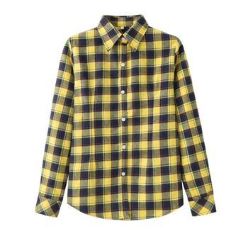 2019 Spring New Fashion Casual Lapel Plus Size Blouses Women Plaid Shirt Checks Flannel Shirts Female Long Sleeve Tops Blouse 6
