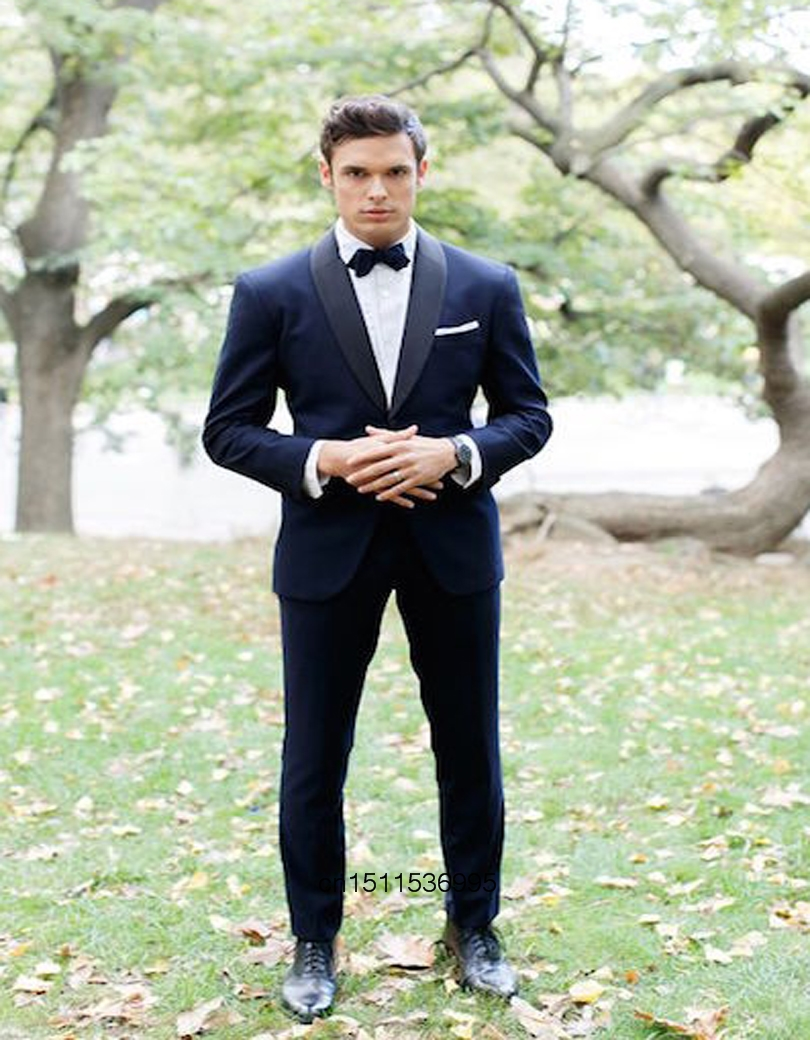 Gentleman Style Man Suit Blue Jacket For Wedding Suits 2 psc Groom Tuxedos Groomsmen Sui ...