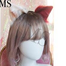 Now Lolita girl hair accessories Animal White Wolf Ears hairband for women scrunchie Headwear Hand Work