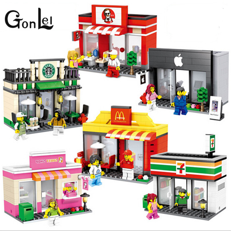 Gonlei single sale mini street scene retail store shop
