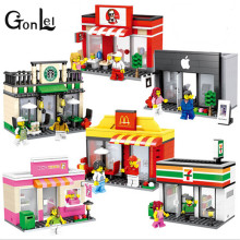 GonLeI Single Sale Mini Street Scene Retail Store Shop Architecture With Building Blocks Sets Model Toys  ZB-G12-17
