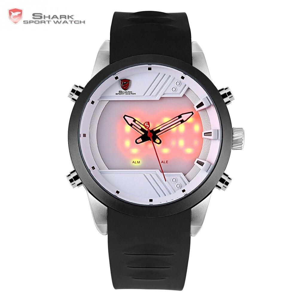 Sawback Angel Shark спортивные часы светодио дный LED 3D Белый Цифровой календарь будильник двойной ход Мужские t силиконовый ремешок Мужские наручные...