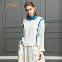 VOA Heavy Silk Plus Size Beading T Shirt Bat Long Sleeve Patchwork Slim Women Tops White